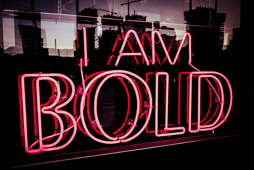 power words and phrases for success - be bold